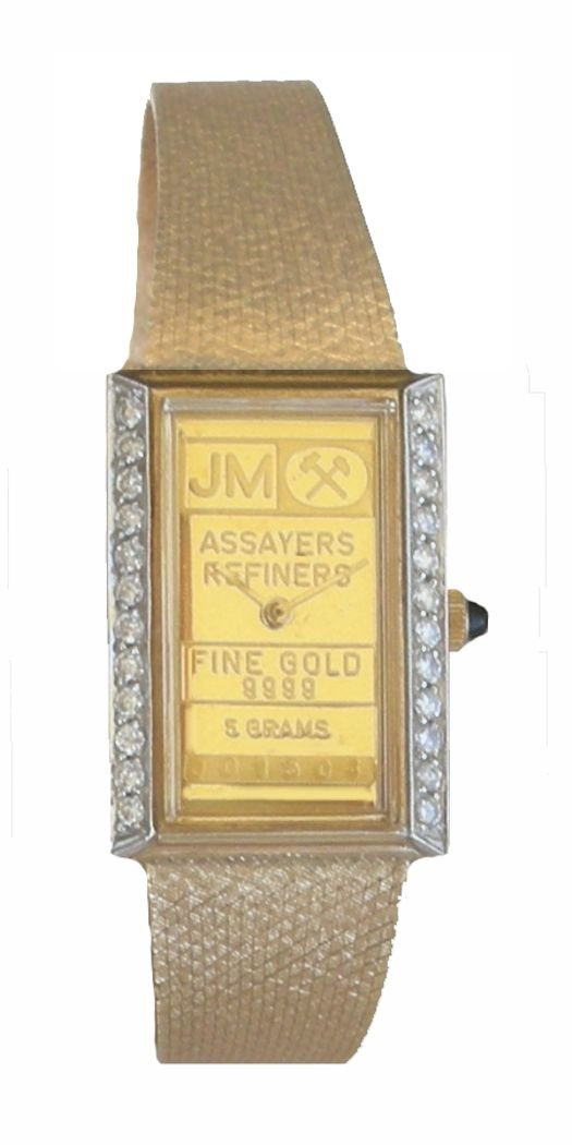 Johnson Matthey ''One of a Kind'' 14K Gold 5 Gram Ingot Ladies Watch With .50 ct Diamonds by RICH (Image #2)