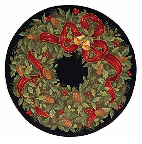 Holiday Wreath Accent Rug, 5 Foot Round Christmas Handmade Wool Area Rug