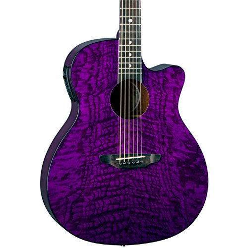 Luna Gypsy Quilt Top Acoustic/Electric Guitar, Trans Purple ()