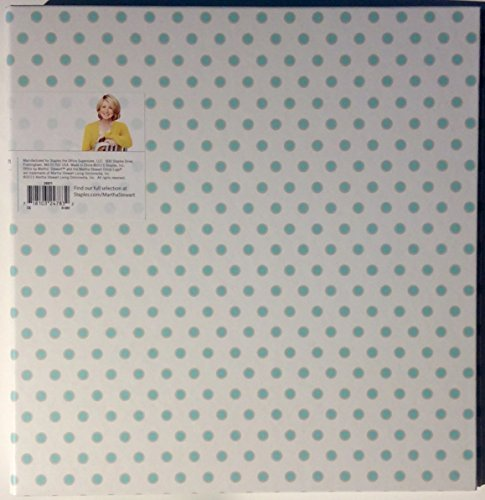 Office by Martha Stewart 1'' Binder 11 1/4 X 1 5/8 X 11 1/2, 3-Ring, Printed Stripes (28797) (Poka Dots Aqua (28871))
