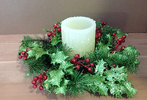 Candle Centerpiece Holiday - Glittered Holly Christmas Candle Ring 10 Inch Ring Fits A 3 Inch Pillar Candle (Not Included) Holiday Christmas Centerpiece