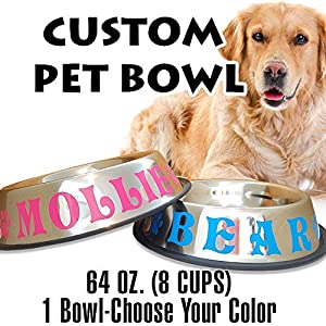 Jeyfel Decals: Custom Pet Bowl Name. Non-Skid rubber Stainless Steel Dog Bowl. 64 OZ. (8 CUPS) (1 Piece) Choose Your Color.