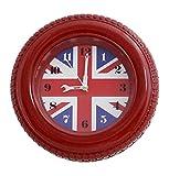 Patriotic Country Flag Tyre-Style Frame Wall & Desk Bedside Alarm Clock - 5-inch, Vintage Union Jack UK Flag