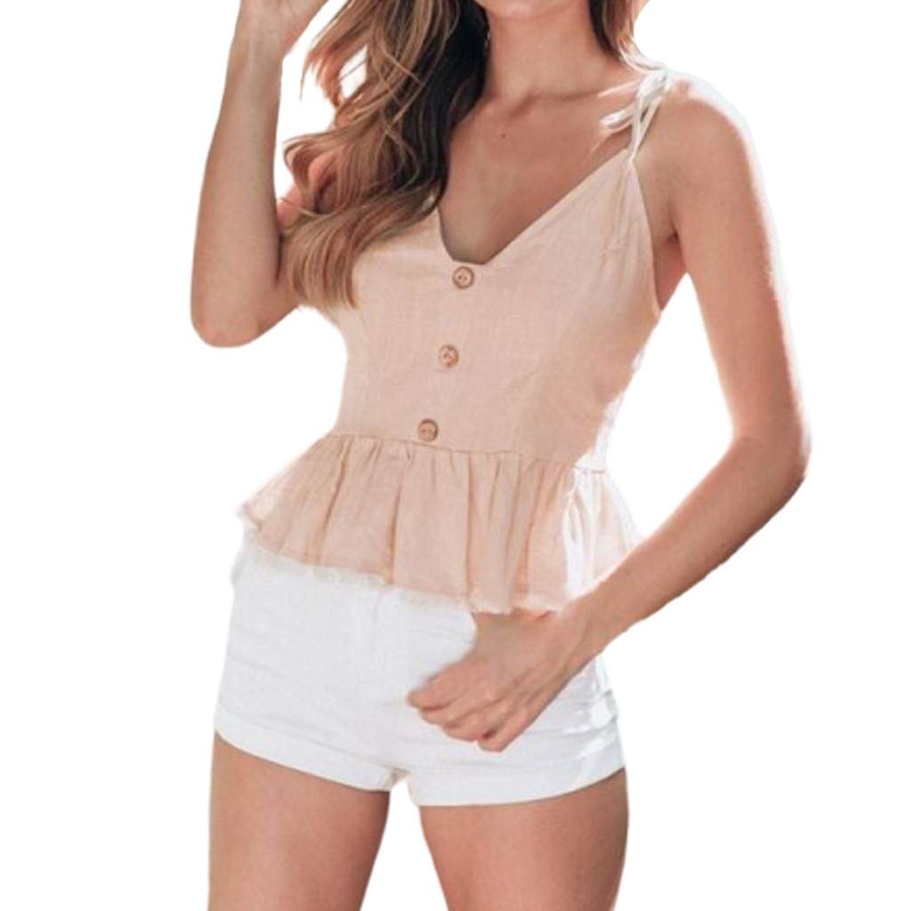Women Summer Tanks,Fineser Womens Ladies Sleeveless V Neck Button Ruffle Hem Casual Camis Crop Single Breasted Tops