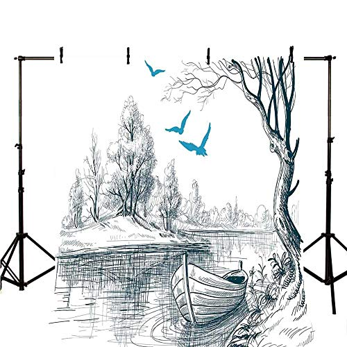 Lake House Decor Stylish Backdrop,Boat on Calm River Trees Birds Twigs Sketch Drawing Clipart Water Minimalistic for Photography,98.4