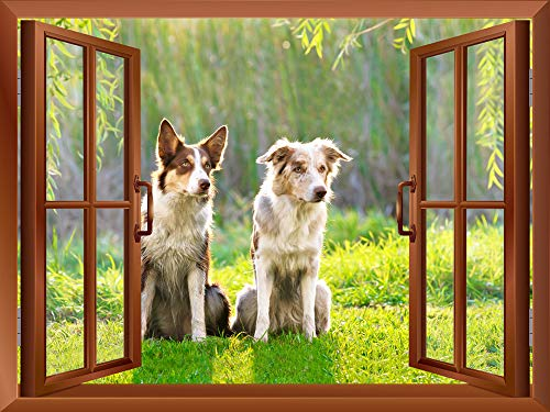 Two Dogs on the Grass outside of an Open Window Removable Wall Sticker Wall Mural