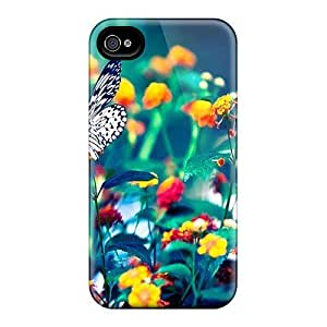 Anti-scratch And Shatterproof Butterfly On Flowers Phone Case For Iphone 4/4s/ High Quality Tpu Case