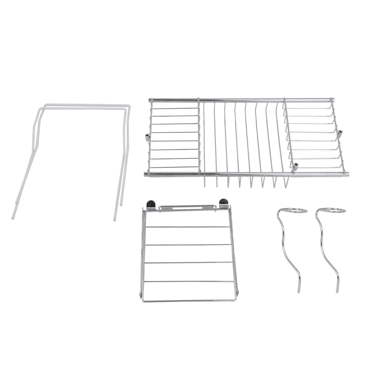 CHICTRY Stainless Steel Bathtub Caddy Tray Over Bath Tub Racks Anti-Rust Bath Tray with Extending Sides Removable Wine Glass Holders and Book Holder Set
