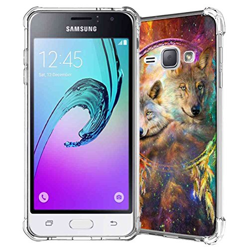 Galaxy J1 2016 Case, Galaxy Amp 2/Express 3 Case, SuperbBeast Slim Thin Scratch Resistant TPU Gel Rubber Protective Case for Samsung Galaxy J1 2016 SM-J120 (Galaxy Dream Catcher Wolf Spirits Pattern)