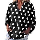 HYIRI Women's Casual Dot Print Long Sleeve V-Neck Loose Shirt Pocket Blouse Tops Black