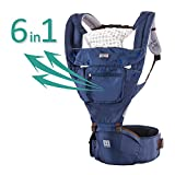Baby Carrier Hipseat Sling - 2017 New Design Ergonomic Kangaroo Child Carrier For Kids,Toddlers, Infants, New Dads and Mums, Including Detachable Hood and 2 Pockets