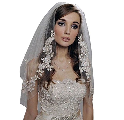 - Women's Vintage Inspired Soft Tulle Lace Edge Wedding Veils For Bride White 1