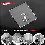 Seamless Adhesive Hooks Anti-skid Hooks Reusable Transparent Hooks Traceless Wall Hanging Hooks for Kitchen & Bathroom Decor 2-10pcs (E-10Pcs)