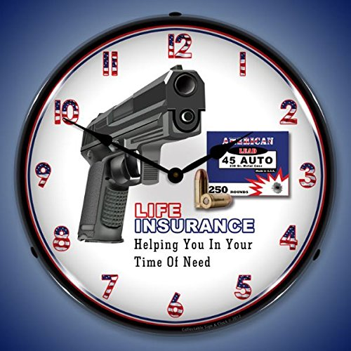 Gun Insurance Lighted Wall Clock