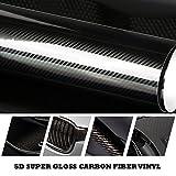KUNFINE 5d color negro de fibra de carbono estilo coche impermeable negro brillante 5d de fibra de carbono vinilo película coche Wrap con burbuja de aire libre DIY coche Tuning parte adhesivo 200x50