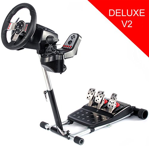 51KMcx1ggOL - Openwheeler Racing Wheel Stand Cockpit Red on Black | For Logitech G29 | G920 and Logitech G27 | G25 | Thrustmaster | Fanatec Wheels | Racing wheel & controllers NOT included