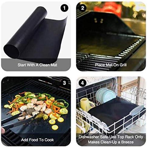 XSHIYQ 4 Pezzi riutilizzabili antiaderenti per Barbecue Grill Grill con 1 pz Silicone imbastitura Spazzola Cottura Cottura Barbecue Accessori per Barbecue