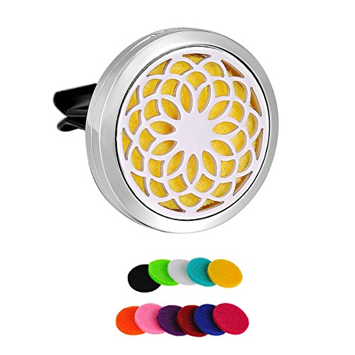 HooAMI Sunflower Car Air Freshener Aromatherapy Essential Oil Diffuser - 316L Stainless Steel Locket With Vent Clip
