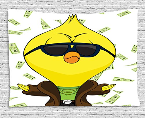 Chicken Tapestry by Lunarable, Cartoon Chick with Trench Coat Chains Sunglasses on Hundred Dollar Bills Backdrop, Wall Hanging for Bedroom Living Room Dorm, 60 W X 40 L Inches, - Chicken With Sunglasses