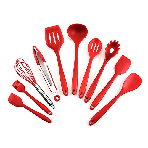 esonmus Kitchen Utensil Set – 10 Natural Silicone Cooking Utensils – Spoon brush whisk ladle spatular tongs – Kitchen Gadgets Utensil Set- for Nonstick Cookware