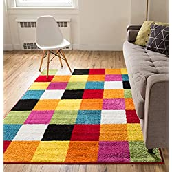 "Well Woven Modern Rug Squares Multi Geometric Accent 3'3"" x 5' Area Rug Entry Way Bright Kids Room Kitchn Bedroom Carpet Bathroom Soft Durable Area Rug"