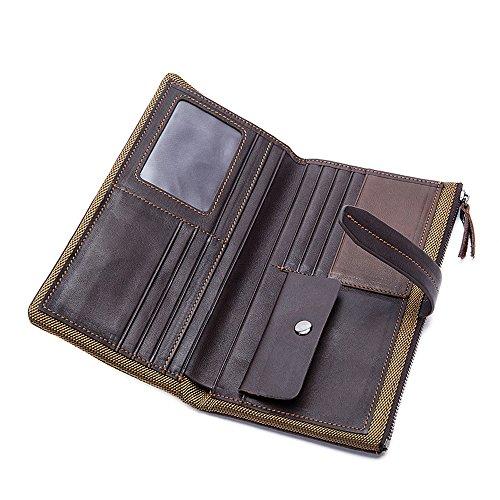 Men's Mens Business Purse Purse Vintage Bifold Genuine Leather MultiCard Long Wallet Darkcoffee IqxrIS1