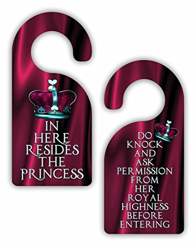 (In Here Resides the Princess / Do Knock and Ask Permission.. - Funny - Cute - Novelty - Crown - Girls Room Door Sign Hanger - Double-Sided - Hard Plastic - Glossy Finish)