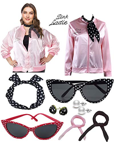 1950s Plus Size Pink Satin Jacket with Neck Scarf Girls Women Halloween Costume Fancy Dress Props (XL, Pink)]()
