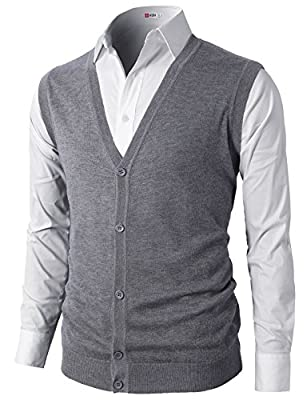 H2H Mens Casual Slim Fit Solid Texture Button-Front Lightweight Sweater Vest