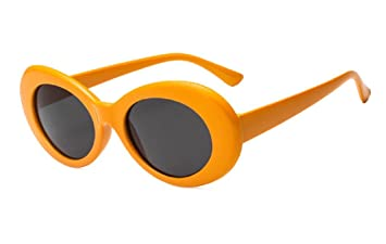 5e00e0d0e49ba Image Unavailable. Image not available for. Color  Bold Retro Oval Mod  Thick Frame Sunglasses Round Lens Clout Goggles (Orange)