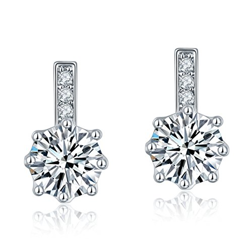 CARSINEL Fashion Solitaire Stud Earrings for Women Hypo-allergenic Copper with Cubic Zirconia (White Gold) (Color Jade Earring)