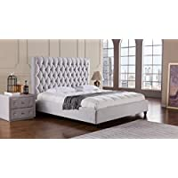 American Eagle Furniture Sterling Collection Fabric Bedroom High Tufted Headboard Bed, Eastern King, Light Gray