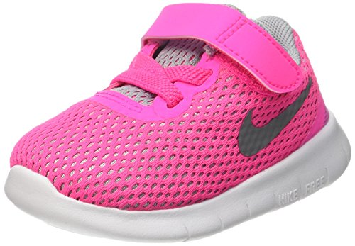 Price comparison product image Nike Free RN (TDV) Toddlers Shoes Pink Blast / Metallic Silver-White 834042-600 (6)