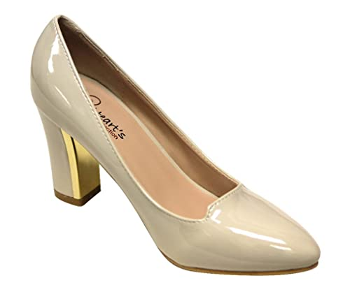 620bbbe0ff3 Heart s Amanda-02 Women s pointy toe chunky heel patent slip on pumps shoes  Nude 6