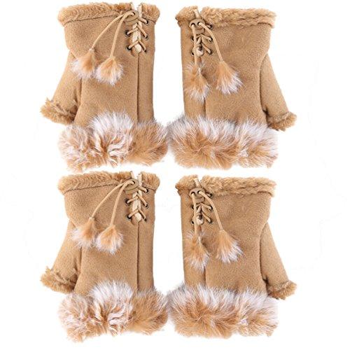 Fingerless Gloves Wrist Warmers (Novawo 2pairs Women Winter Warm Fingerless Gloves Texting Gloves Wrist Warmer)