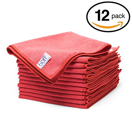 Red Microfiber Cleaning Cloths | Best Towels for Dusting, Scrubbing, Polishing, Absorbing | Large 16