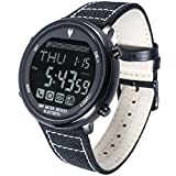 Waterproof Bluetooth 4.0 Digital Smart Casual Watch for Android and iPhone Phone APP (Black Edition + Gray Nylon Band)