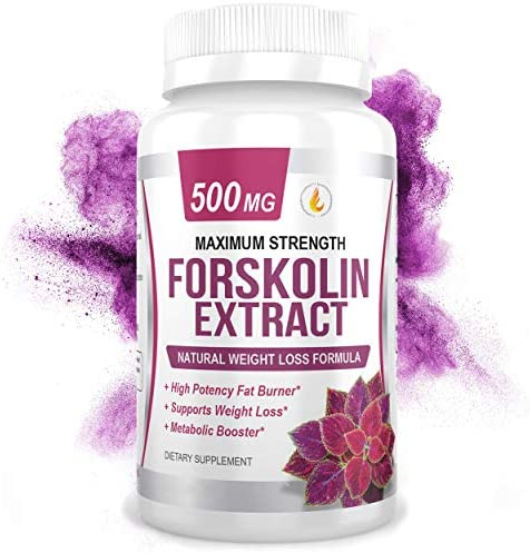 PREMIUM FORSKOLIN EXTRACT, 500mg - 60 Capsules w/ 20% Standardized Forskolin, Non-GMO & Gluten Free, Appetite Suppressant, MAX Strength Belly Fat Burner, Carb Blocker, Weight Loss Supplement. USA Made 1
