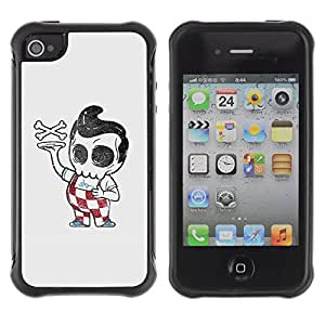 Be-Star único patrón Impacto Shock - Absorción y Anti-Arañazos Funda Carcasa Case Bumper Para Apple iPhone 4 / iPhone 4S ( Pizza Boy Skull Skeleton Italian Funny )