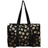 NGIL All Purpose Organizer 18'' Large Utility Tote Bag 2018 Spring Collection (Gold Puppy Paw Black)