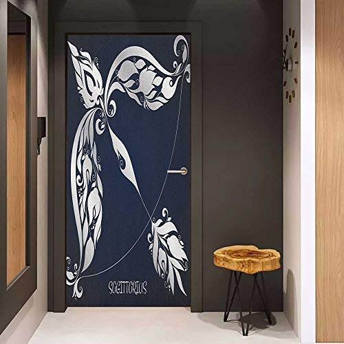 Onefzc Wood Door Sticker Zodiac Astrology Sign Sagittarius with Flower Images Planetary Impacts on Nature Theme Easy-to-Clean, Durable W32 x H80 Blue Silver