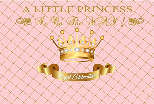 LFEEY 10x7ft Baby Shower Photo Backdrop for Girl Sweet Pink Gridding Pattern Photography Background Little Princess is on its Way Crown Party Decoration Banner Photoshoot Booth Props