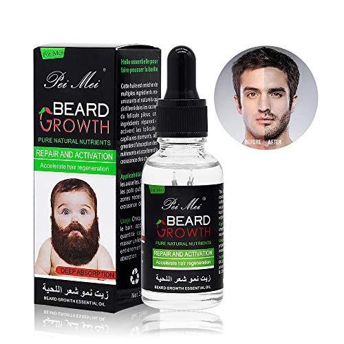 Beard Growth Oil, Pei Mei Natural Organic Hair Growth Oil Beard Oil Enhancer Facial Nutrition Moustache Grow Beard Shaping Tool Beard Care Products Hair Loss Products (30ml)
