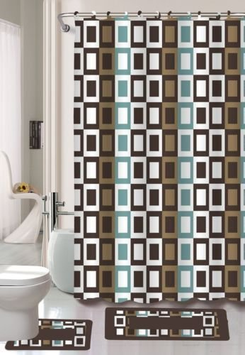 Gorgeous HomeDifferent Colors & Designs 1 Shower Curtain 12 Fabric Hooks and a Set of 2 Bathroom Bath Mats Rugs Bath Boutique Accessory Sets (J#4 Brown Squares)