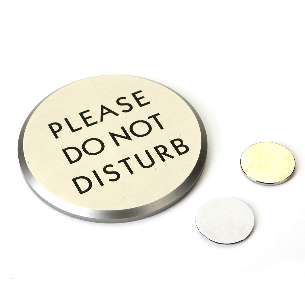 """TOPNIKE Please Do Not Disturb Sign Magnet, Diameter 2.75"""", with 2 of Round Magnets and a VHB Tape, 1 Pack, (Silver Aluminum)"""
