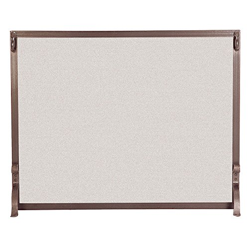(Pilgrim Home and Hearth 18283 Forged Iron Single Panel Fireplace Screen, 39″W x 31″H, 22 lbs, Burnished Bronze)