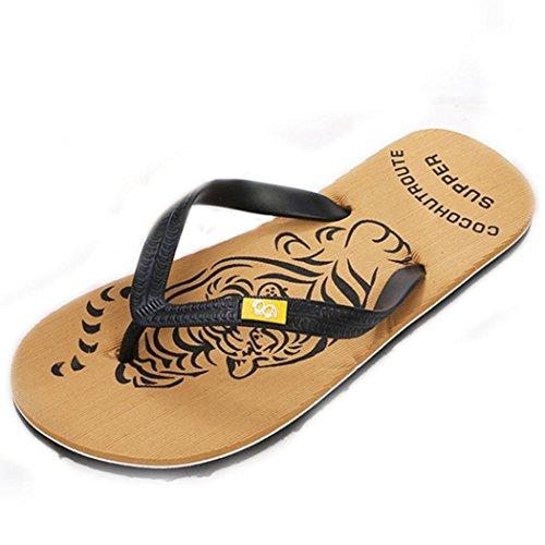 Tiean Men Summer Shoes Sandals Male Slipper Indoor Or Outdoor Flip Flops Yellow wisByo