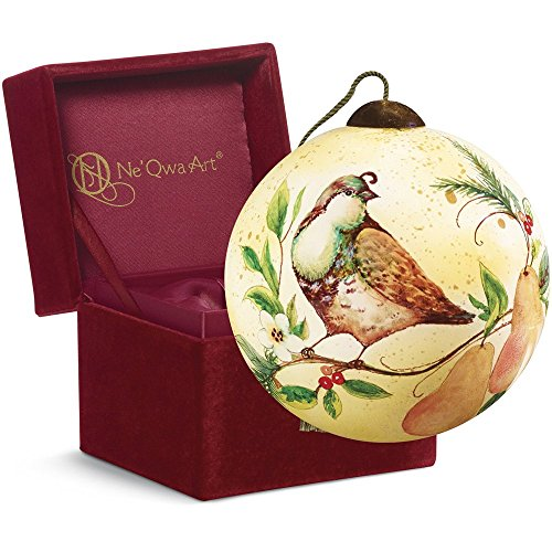 Partridge and Pears Glass Ornament