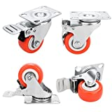 """2"""" Swivel Caster Wheels Rubber Base with Top Plate & Bearing Heavy Duty- Red (Pack of 4)"""