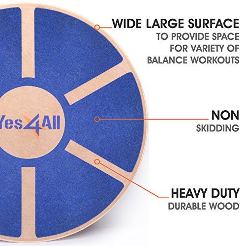 Yes4All Wooden Wobble Balance Board – Exercise Balance Stability Trainer 15.75 inch Diameter - Blue - ²L6CJZ